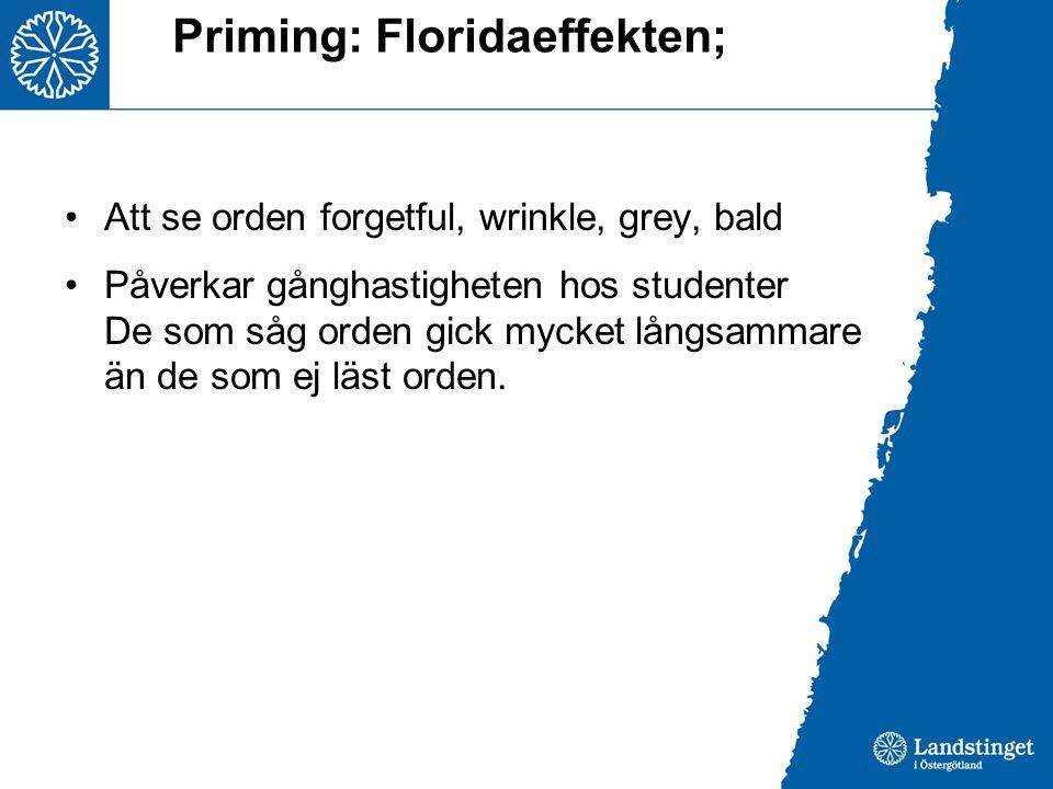 Priming: Floridaeffekten; •Att se orden forgetful, wrinkle, grey, bald •Påverkar gånghastigheten hos studenter De som såg orden gick mycket långsammar