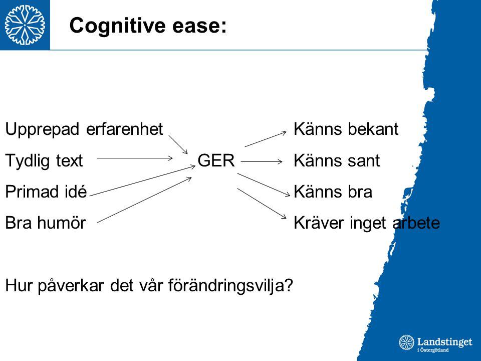 Cognitive ease: Upprepad erfarenhetKänns bekant Tydlig textGERKänns sant Primad idéKänns bra Bra humörKräver inget arbete Hur påverkar det vår förändr