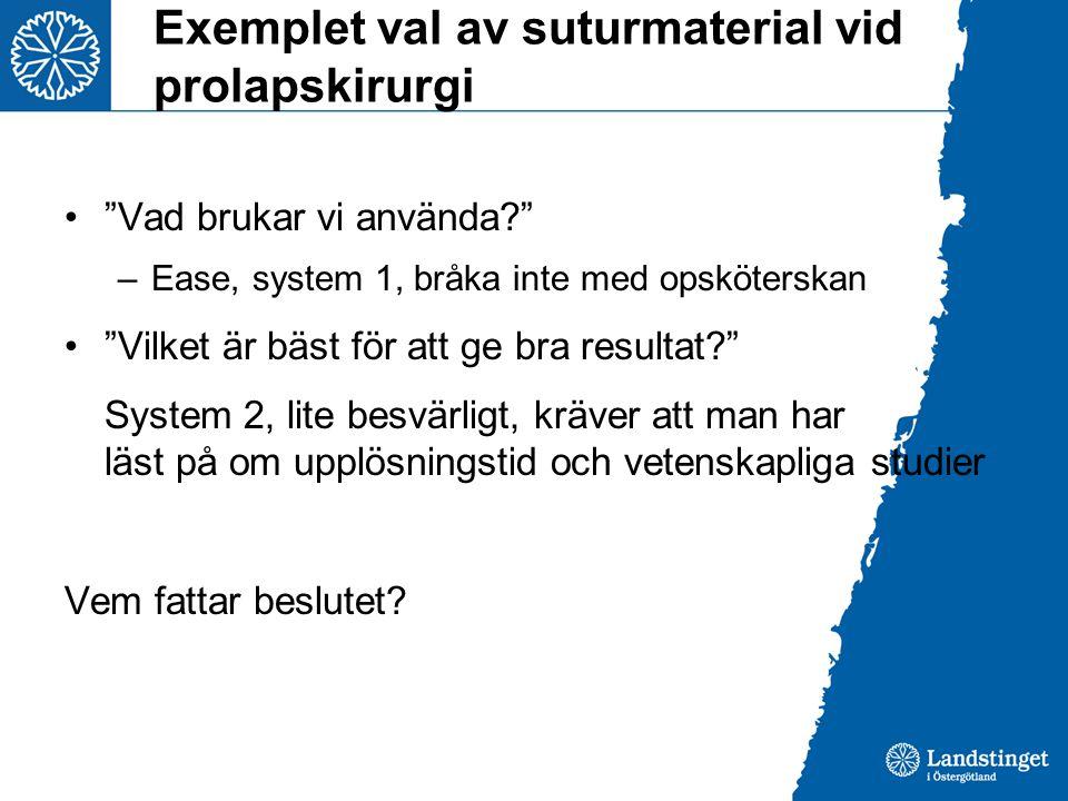 """Exemplet val av suturmaterial vid prolapskirurgi •""""Vad brukar vi använda?"""" –Ease, system 1, bråka inte med opsköterskan •""""Vilket är bäst för att ge br"""