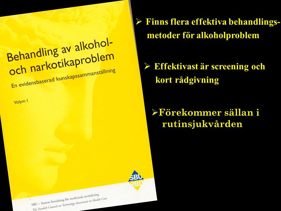  Finns flera effektiva behandlings- metoder för alkoholproblem  Förekommer sällan i rutinsjukvården  Effektivast är screening och kort rådgivning