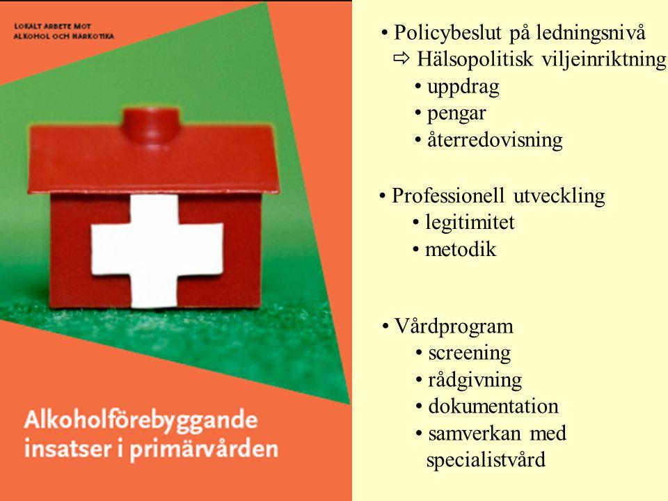 • Policybeslut på ledningsnivå  Hälsopolitisk viljeinriktning • uppdrag • pengar • återredovisning • Professionell utveckling • legitimitet • metodik • Vårdprogram • screening • rådgivning • dokumentation • samverkan med specialistvård
