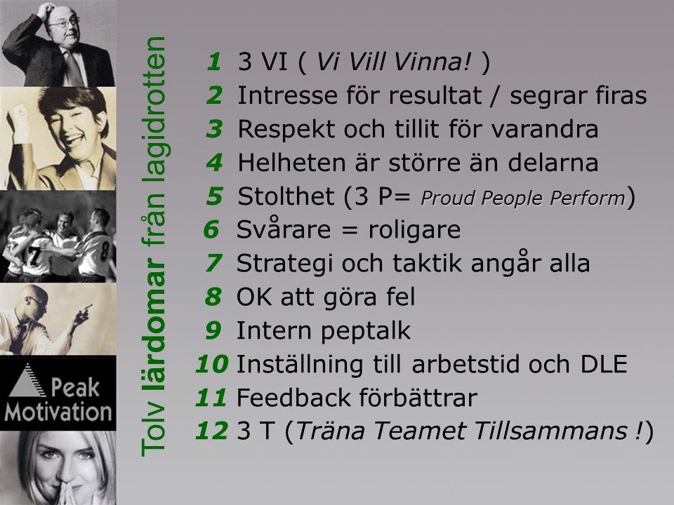 13 VI ( Vi Vill Vinna! ) 2Intresse för resultat / segrar firas 3Respekt och tillit för varandra 4Helheten är större än delarna Proud People Perform 5S