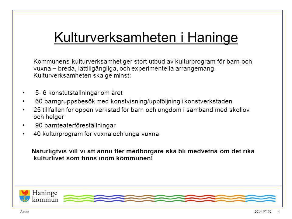 2014-07-02 4 Ämne Kulturverksamheten i Haninge Kommunens kulturverksamhet ger stort utbud av kulturprogram för barn och vuxna – breda, lättillgängliga, och experimentella arrangemang.