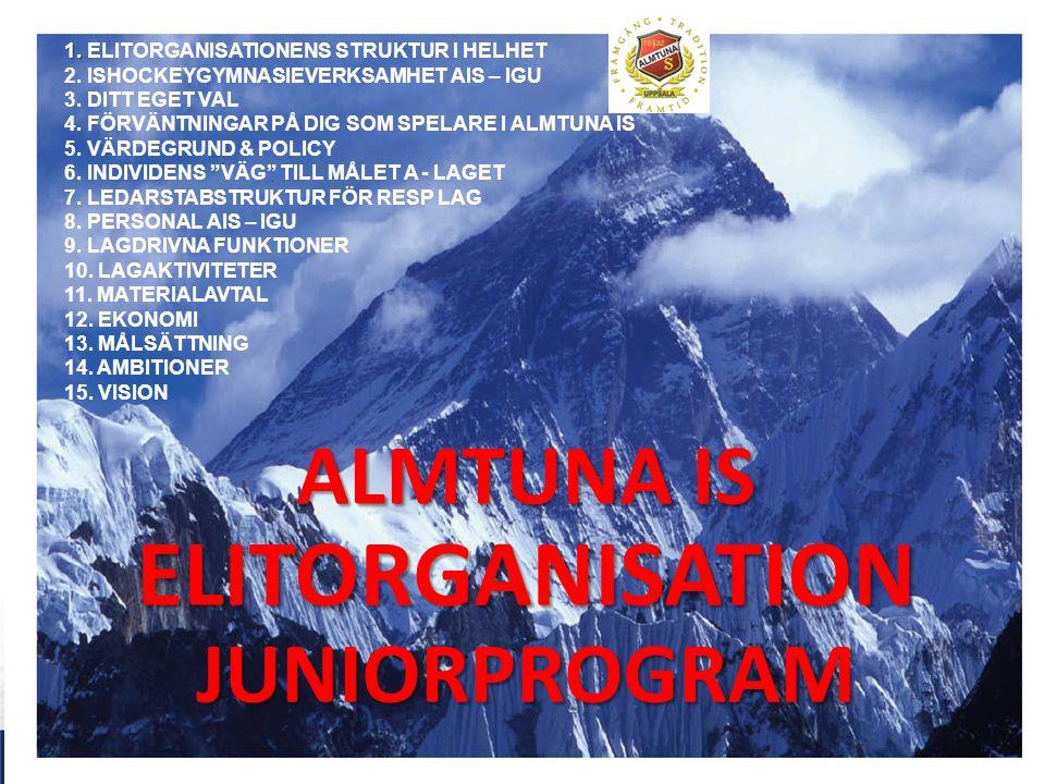 ALMTUNA IS ELITORGANISATION JUNIORPROGRAM 1. 1. ELITORGANISATIONENS STRUKTUR I HELHET 2. ISHOCKEYGYMNASIEVERKSAMHET AIS – IGU 3. DITT EGET VAL 4. FÖRV