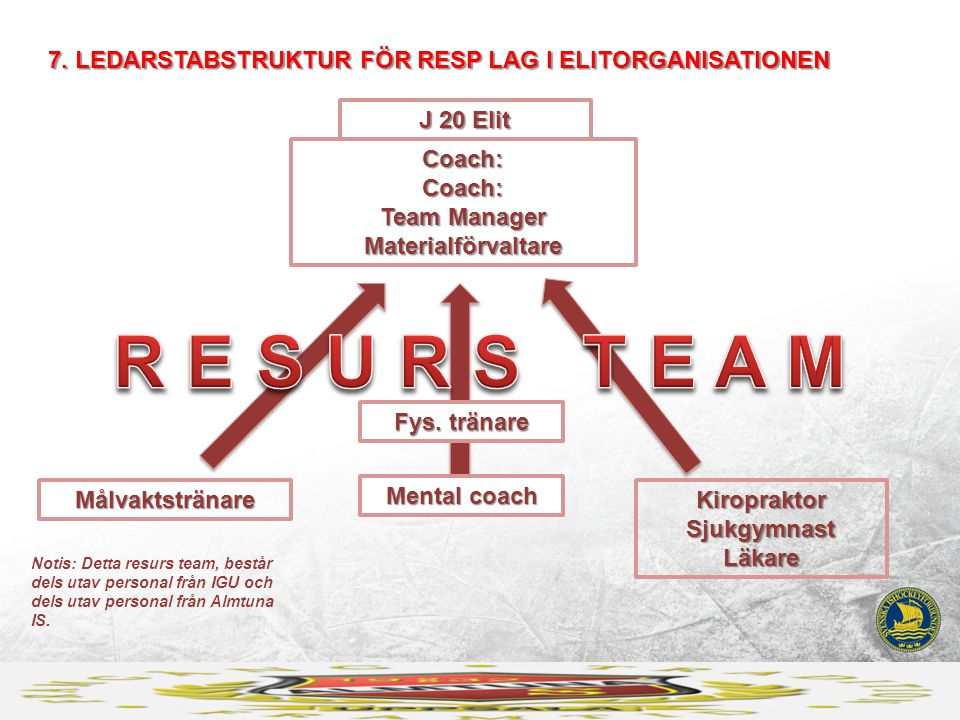 J 20 Elit Coach: Coach: Team Manager Materialförvaltare 7. LEDARSTABSTRUKTUR FÖR RESP LAG I ELITORGANISATIONEN Målvaktstränare Fys. tränare Kiroprakto