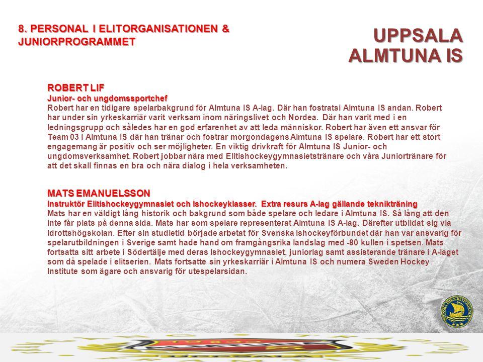 UPPSALA ALMTUNA IS 8. PERSONAL I ELITORGANISATIONEN & JUNIORPROGRAMMET MATS EMANUELSSON Instruktör Elitishockeygymnasiet och Ishockeyklasser. Extra re