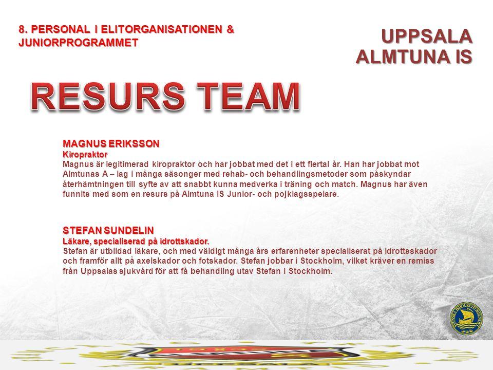 UPPSALA ALMTUNA IS 8. PERSONAL I ELITORGANISATIONEN & JUNIORPROGRAMMET MAGNUS ERIKSSON Kiropraktor MAGNUS ERIKSSON Kiropraktor Magnus är legitimerad k