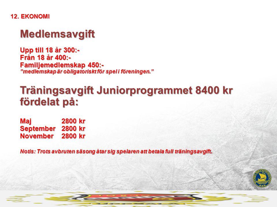 """Medlemsavgift Upp till 18 år 300:- Från 18 år 400:- Familjemedlemskap 450:- """"medlemskap är obligatoriskt för spel i föreningen."""" Träningsavgift Junior"""