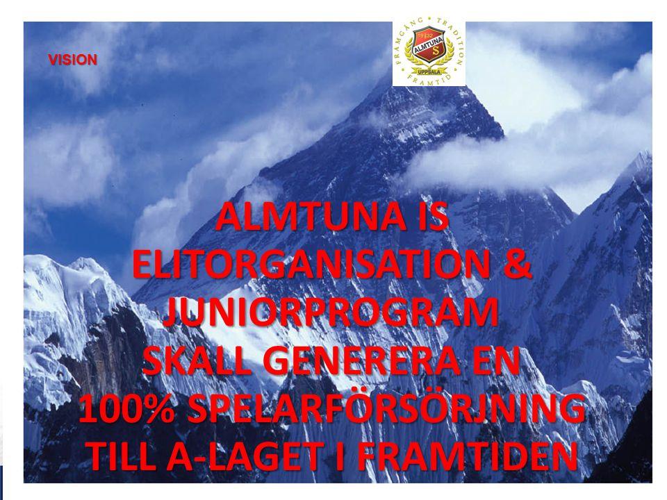 ALMTUNA IS ELITORGANISATION & JUNIORPROGRAM SKALL GENERERA EN 100% SPELARFÖRSÖRJNING TILL A-LAGET I FRAMTIDEN VISION