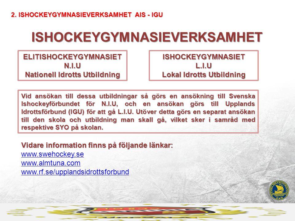 ISHOCKEYGYMNASIEVERKSAMHET 2. ISHOCKEYGYMNASIEVERKSAMHET AIS - IGU ELITISHOCKEYGYMNASIET N.I.U Nationell Idrotts Utbildning ISHOCKEYGYMNASIET L.I.U Lo