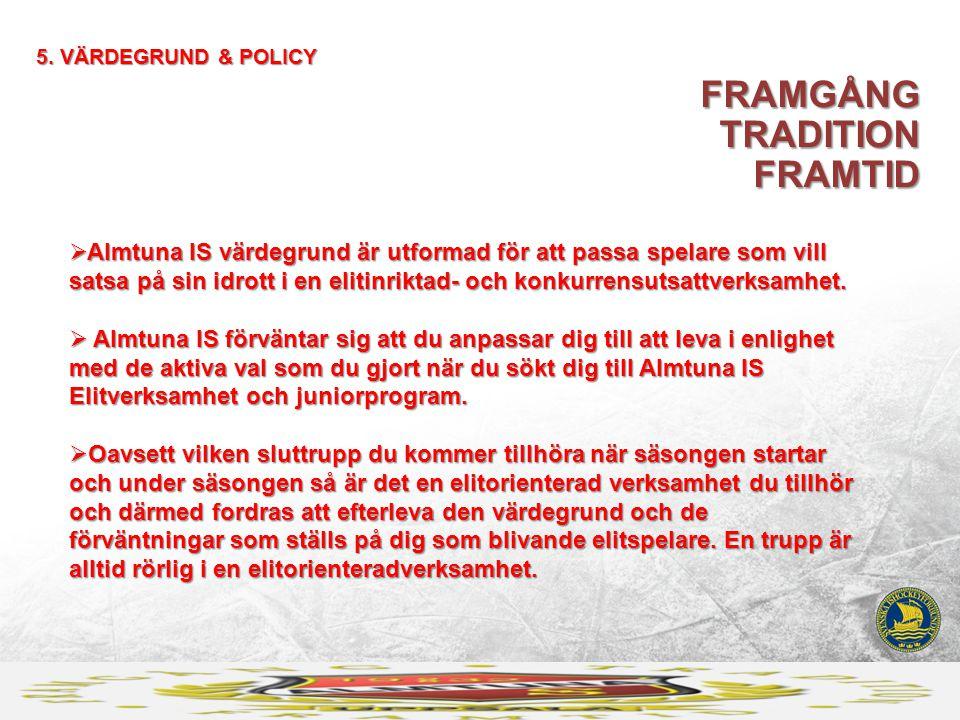 5. VÄRDEGRUND & POLICY FRAMGÅNG TRADITION FRAMTID  Almtuna IS värdegrund är utformad för att passa spelare som vill satsa på sin idrott i en elitinri