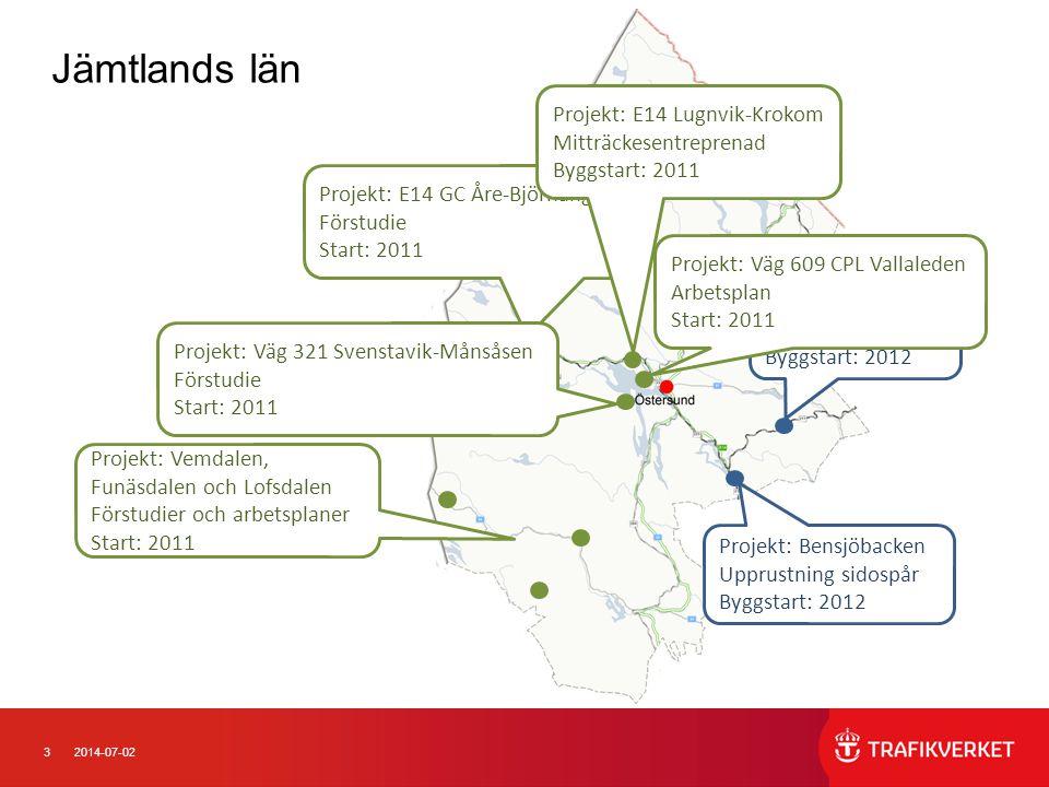 32014-07-02 Jämtlands län Projekt: Kälarne Spårväxelbyte Byggstart: 2012 Projekt: Bensjöbacken Upprustning sidospår Byggstart: 2012 Projekt: E14 GC År