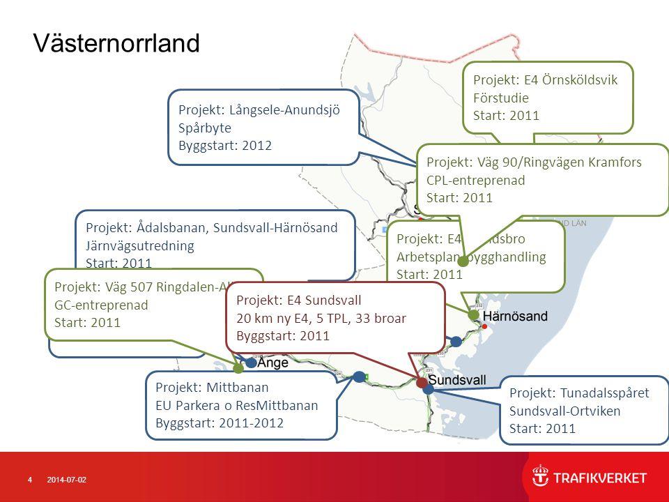42014-07-02 Projekt: E4 Älandsbro Arbetsplan/bygghandling Start: 2011 Västernorrland Projekt: Långsele-Anundsjö Spårbyte Byggstart: 2012 Projekt: Mitt