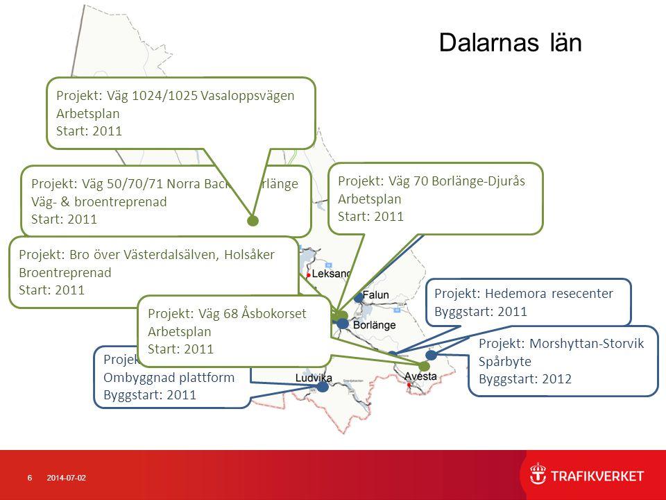 62014-07-02 Dalarnas län Projekt: Morshyttan-Storvik Spårbyte Byggstart: 2012 Projekt: Borlänge Resecentrum Byggstart: 2011 Projekt: Ludvika Ombyggnad