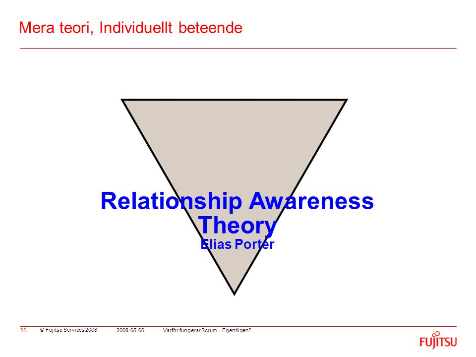 © Fujitsu Services 2008 Varför fungerar Scrum – Egentligen? 2008-05-06 11 Mera teori, Individuellt beteende Relationship Awareness Theory Elias Porter