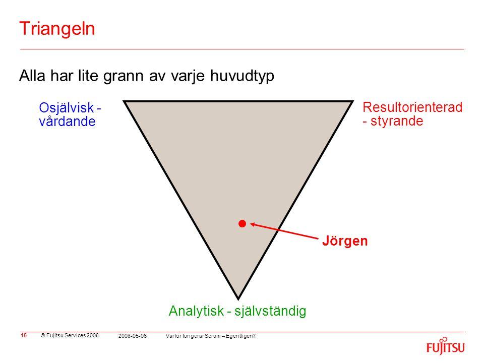 © Fujitsu Services 2008 Varför fungerar Scrum – Egentligen? 2008-05-06 15 Triangeln Alla har lite grann av varje huvudtyp Jörgen Osjälvisk - vårdande