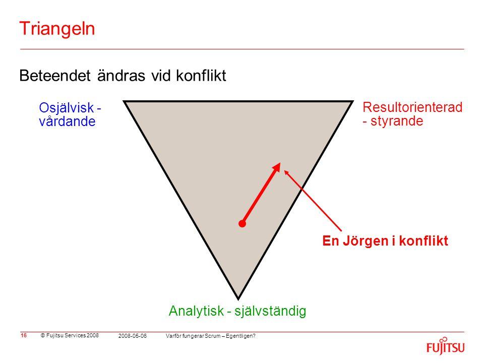 © Fujitsu Services 2008 Varför fungerar Scrum – Egentligen? 2008-05-06 16 Triangeln Beteendet ändras vid konflikt En Jörgen i konflikt Osjälvisk - vår