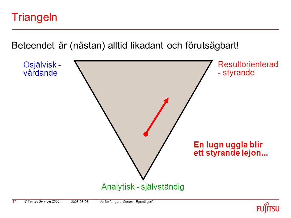 © Fujitsu Services 2008 Varför fungerar Scrum – Egentligen? 2008-05-06 17 Triangeln Beteendet är (nästan) alltid likadant och förutsägbart! En lugn ug