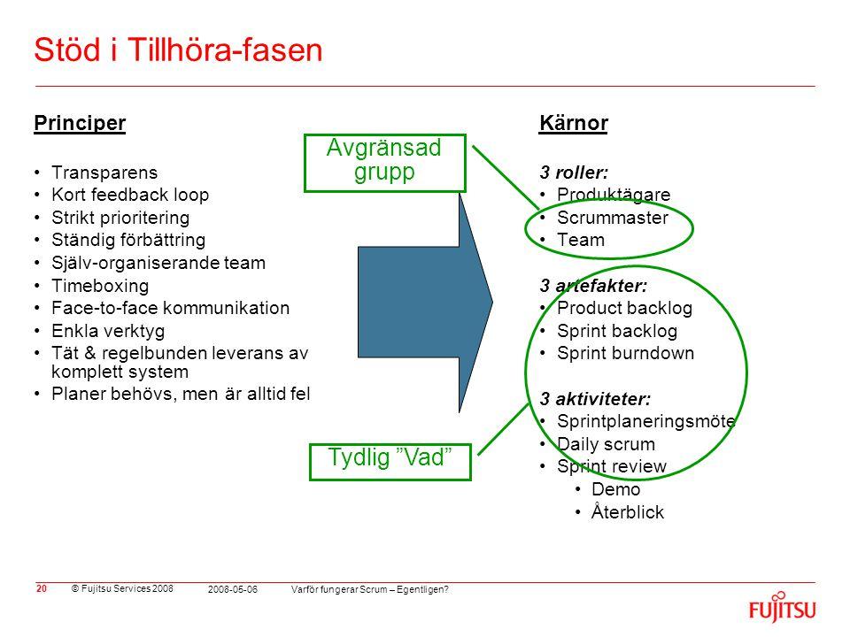 © Fujitsu Services 2008 Varför fungerar Scrum – Egentligen? 2008-05-06 20 Stöd i Tillhöra-fasen Principer •Transparens •Kort feedback loop •Strikt pri