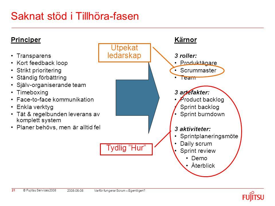 © Fujitsu Services 2008 Varför fungerar Scrum – Egentligen? 2008-05-06 21 Saknat stöd i Tillhöra-fasen Principer •Transparens •Kort feedback loop •Str