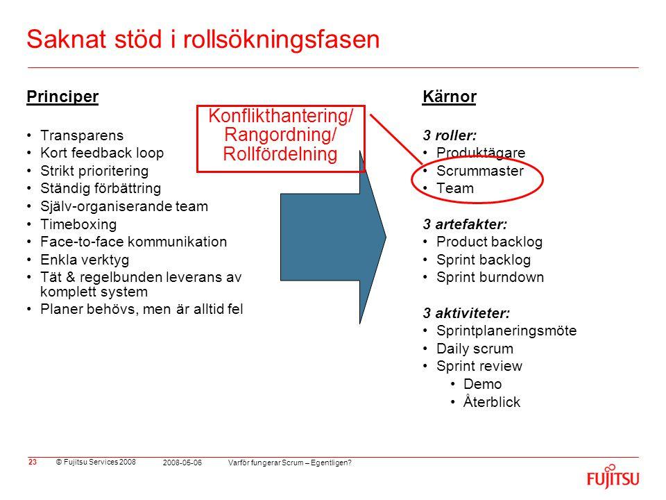 © Fujitsu Services 2008 Varför fungerar Scrum – Egentligen? 2008-05-06 23 Saknat stöd i rollsökningsfasen Principer •Transparens •Kort feedback loop •