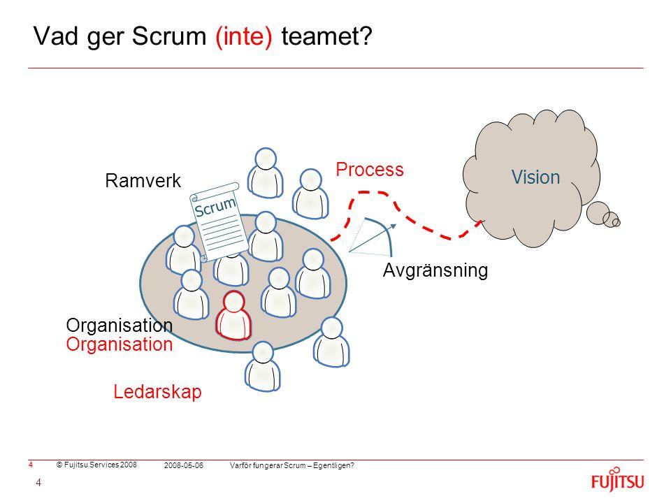 © Fujitsu Services 2008 Varför fungerar Scrum – Egentligen? 2008-05-06 4 Organisation Vad ger Scrum (inte) teamet? 4 Vision Avgränsning Scrum Ramverk