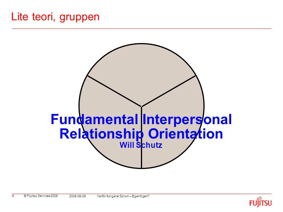 © Fujitsu Services 2008 Varför fungerar Scrum – Egentligen? 2008-05-06 5 Lite teori, gruppen Fundamental Interpersonal Relationship Orientation Will S