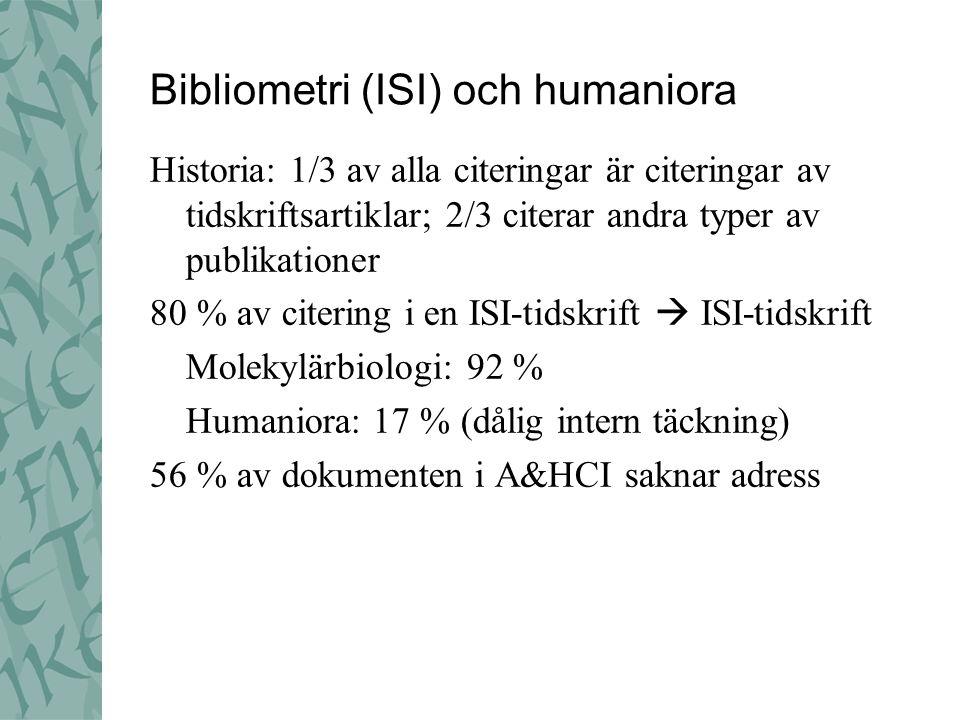 Bibliometri (ISI) och humaniora Historia: 1/3 av alla citeringar är citeringar av tidskriftsartiklar; 2/3 citerar andra typer av publikationer 80 % av citering i en ISI-tidskrift  ISI-tidskrift Molekylärbiologi: 92 % Humaniora: 17 % (dålig intern täckning) 56 % av dokumenten i A&HCI saknar adress