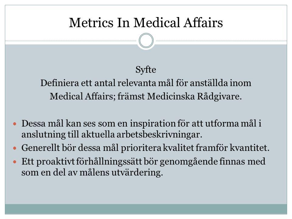 Syfte Definiera ett antal relevanta mål för anställda inom Medical Affairs; främst Medicinska Rådgivare.  Dessa mål kan ses som en inspiration för at