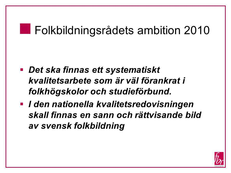  Folkbildningsrådets ambition 2010  Det ska finnas ett systematiskt kvalitetsarbete som är väl förankrat i folkhögskolor och studieförbund.