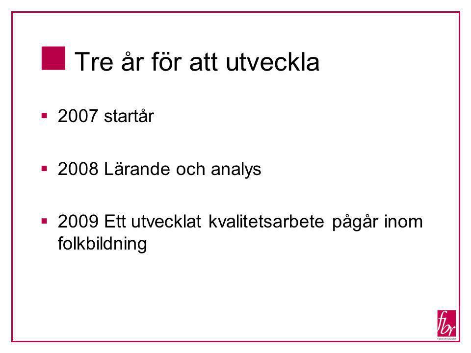  Tre år för att utveckla  2007 startår  2008 Lärande och analys  2009 Ett utvecklat kvalitetsarbete pågår inom folkbildning