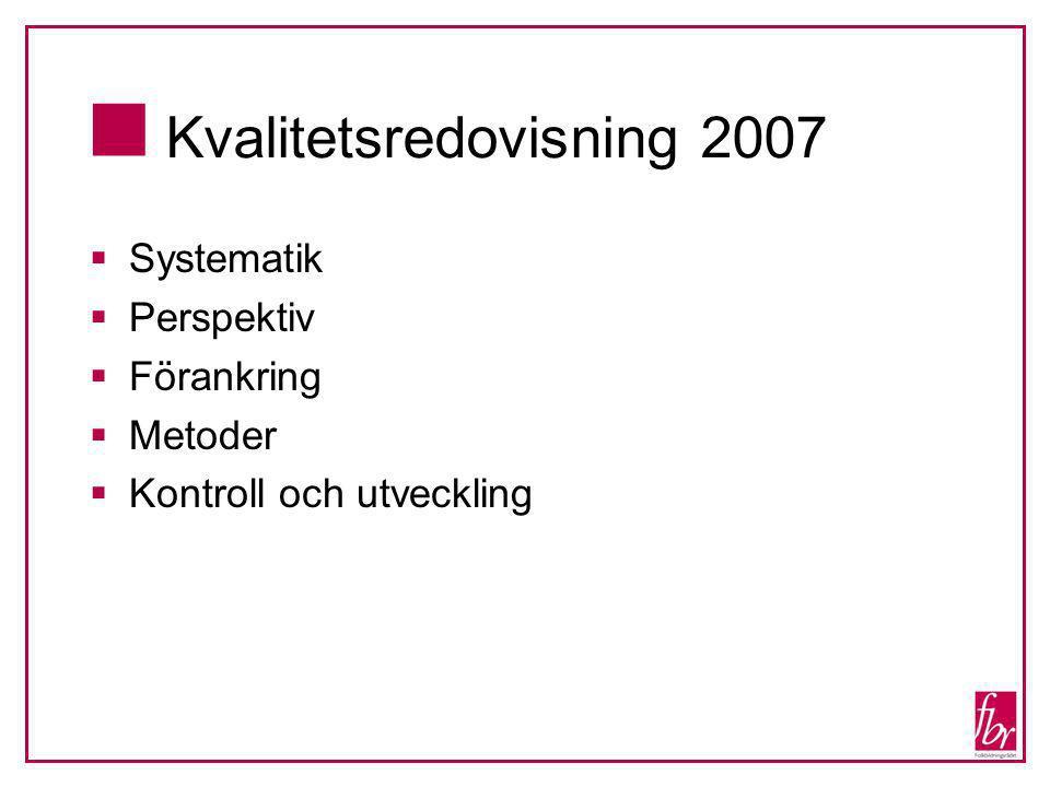  Kvalitetsredovisning 2007  Systematik  Perspektiv  Förankring  Metoder  Kontroll och utveckling