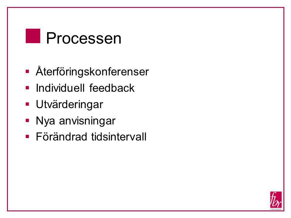  Processen  Återföringskonferenser  Individuell feedback  Utvärderingar  Nya anvisningar  Förändrad tidsintervall