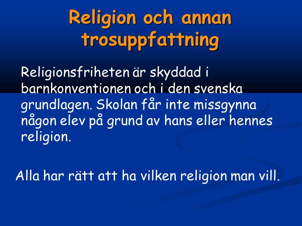 Religion och annan trosuppfattning Religionsfriheten är skyddad i barnkonventionen och i den svenska grundlagen.