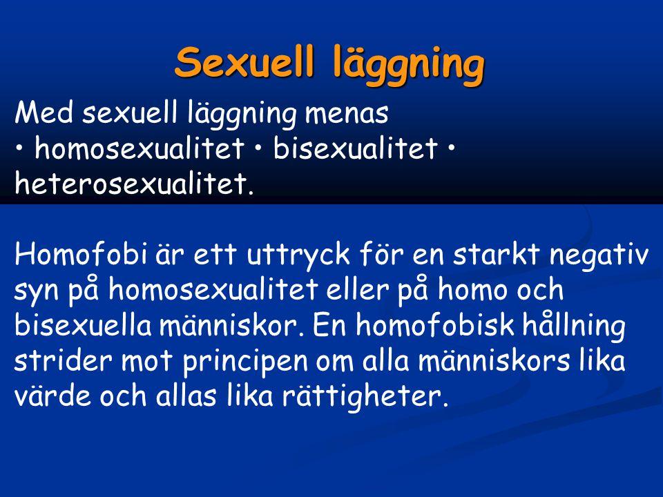 Sexuell läggning Med sexuell läggning menas • homosexualitet • bisexualitet • heterosexualitet.