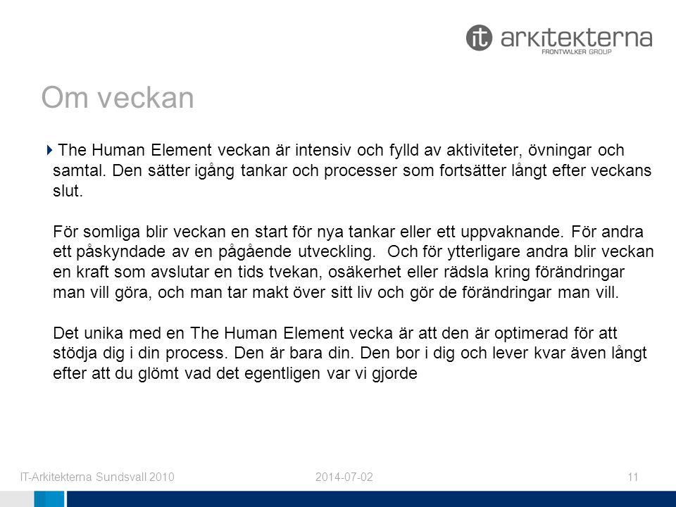2014-07-02IT-Arkitekterna Sundsvall 201011 Om veckan  The Human Element veckan är intensiv och fylld av aktiviteter, övningar och samtal.