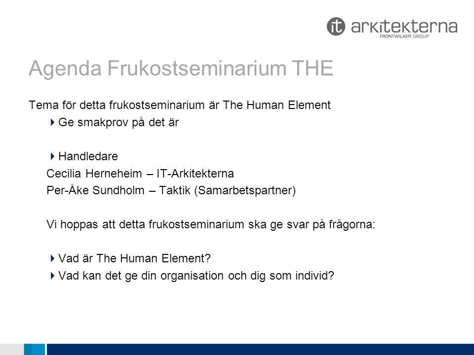 Agenda Frukostseminarium THE Tema för detta frukostseminarium är The Human Element  Ge smakprov på det är  Handledare Cecilia Herneheim – IT-Arkitekterna Per-Åke Sundholm – Taktik (Samarbetspartner) Vi hoppas att detta frukostseminarium ska ge svar på frågorna:  Vad är The Human Element.