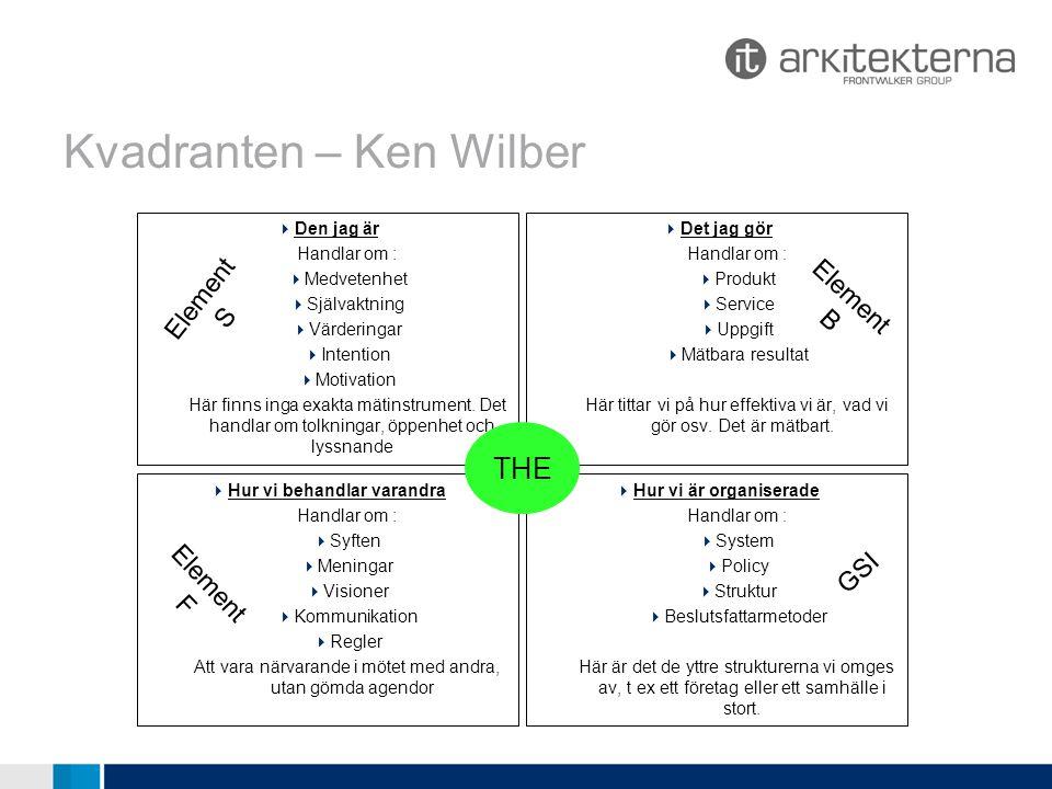 Kvadranten – Ken Wilber  Den jag är Handlar om :  Medvetenhet  Självaktning  Värderingar  Intention  Motivation Här finns inga exakta mätinstrument.