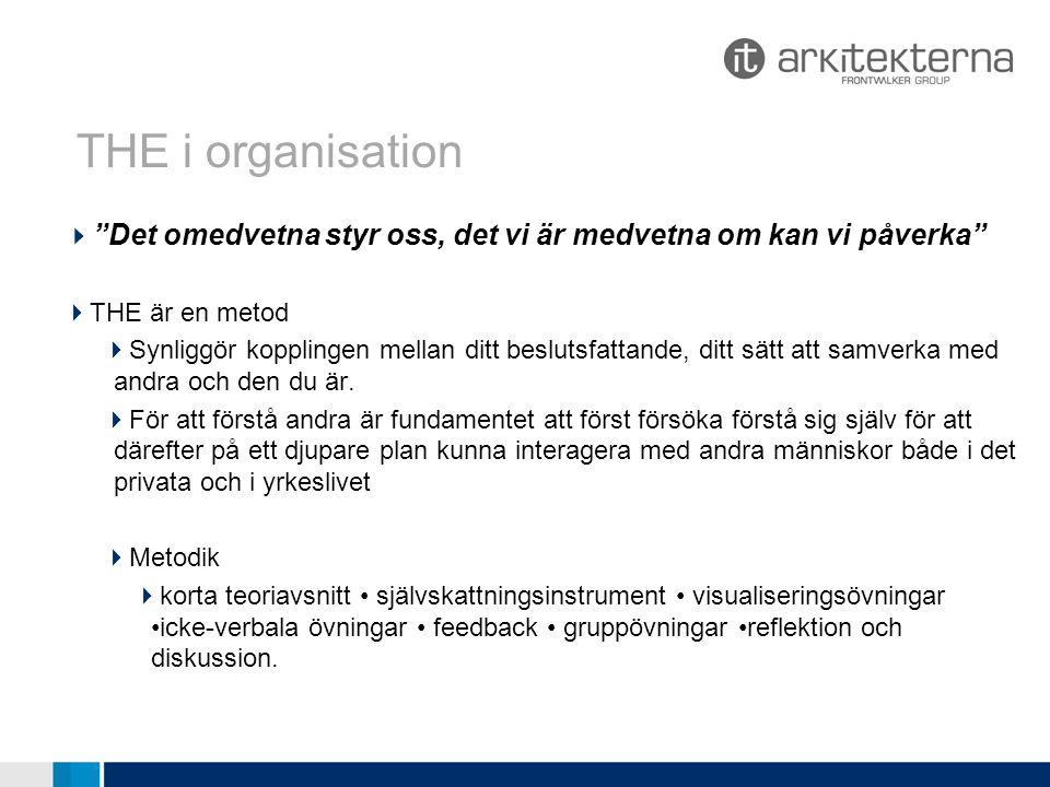 THE i organisationer Öppna utbildningstillfällen  2010  v.39 Sundsvall 26/9-1/10  v.45 Stockholm 7/11-12/11  2011  v.06 Sundsvall 6/2-11/2  v.27 Stockholm 3/7-8/7 THE passar bra för ledningsgruppsutveckling och andra grupper med behov av gott samarbete.