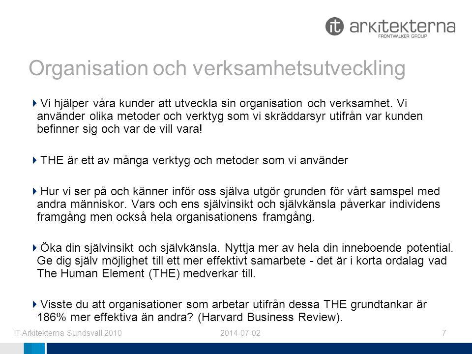 2014-07-02IT-Arkitekterna Sundsvall 20107 Organisation och verksamhetsutveckling  Vi hjälper våra kunder att utveckla sin organisation och verksamhet.