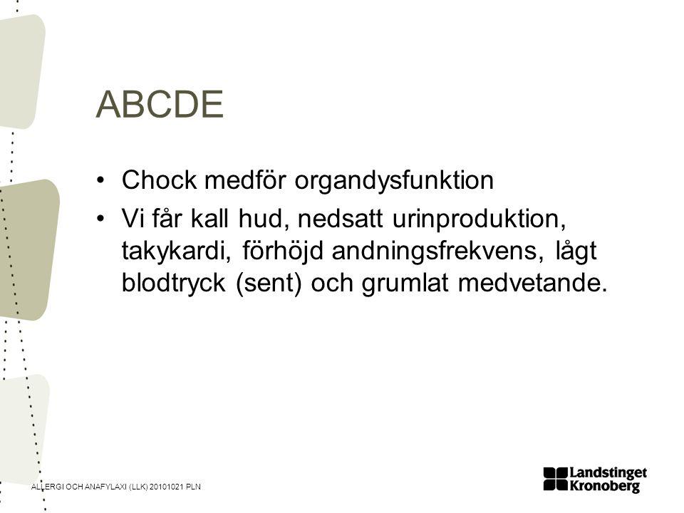 ALLERGI OCH ANAFYLAXI (LLK) 20101021 PLN ABCDE •Chock medför organdysfunktion •Vi får kall hud, nedsatt urinproduktion, takykardi, förhöjd andningsfre