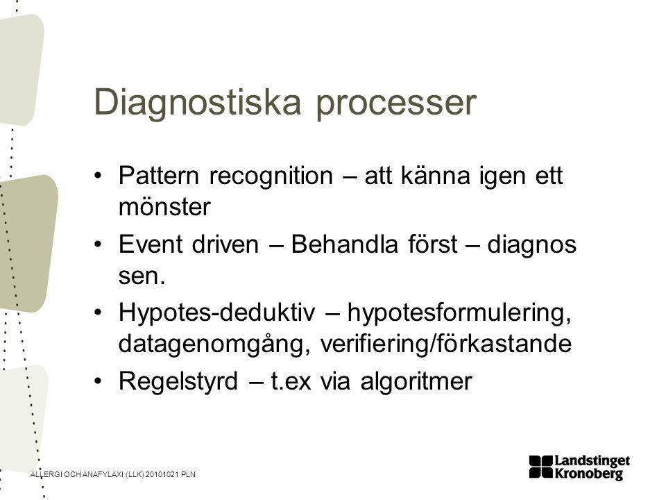 ALLERGI OCH ANAFYLAXI (LLK) 20101021 PLN Diagnostiska processer •Pattern recognition – att känna igen ett mönster •Event driven – Behandla först – dia