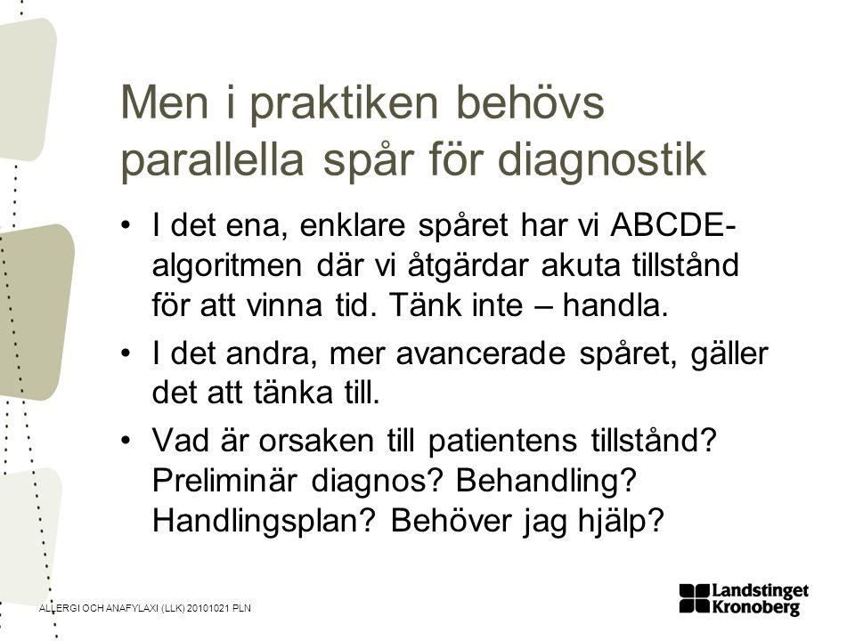 ALLERGI OCH ANAFYLAXI (LLK) 20101021 PLN Men i praktiken behövs parallella spår för diagnostik •I det ena, enklare spåret har vi ABCDE- algoritmen där