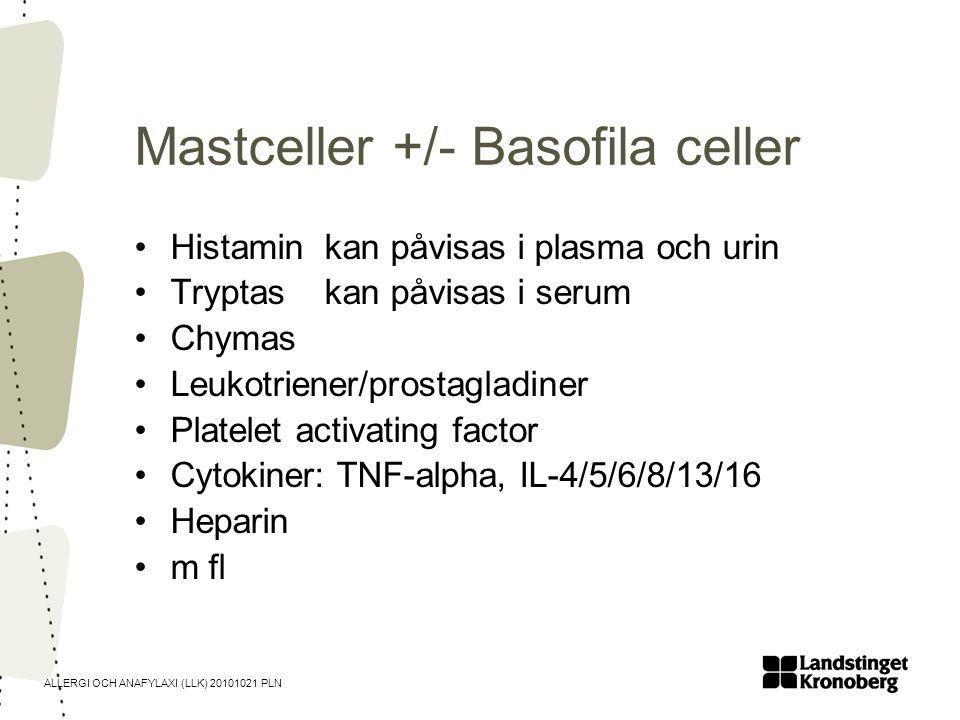 ALLERGI OCH ANAFYLAXI (LLK) 20101021 PLN Mastceller +/- Basofila celler •Histamin kan påvisas i plasma och urin •Tryptas kan påvisas i serum •Chymas •