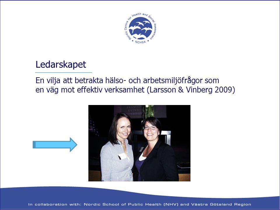 En vilja att betrakta hälso- och arbetsmiljöfrågor som en väg mot effektiv verksamhet (Larsson & Vinberg 2009) Ledarskapet