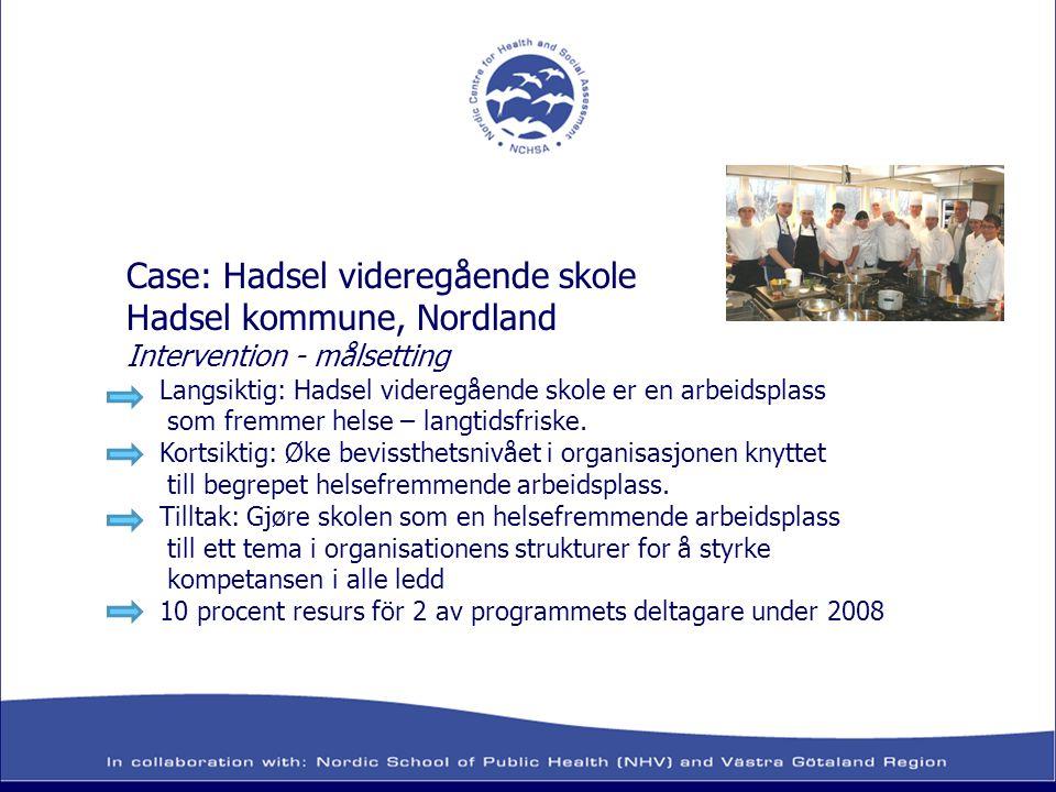 Case: Hadsel videregående skole Hadsel kommune, Nordland Intervention - målsetting Langsiktig: Hadsel videregående skole er en arbeidsplass som fremme