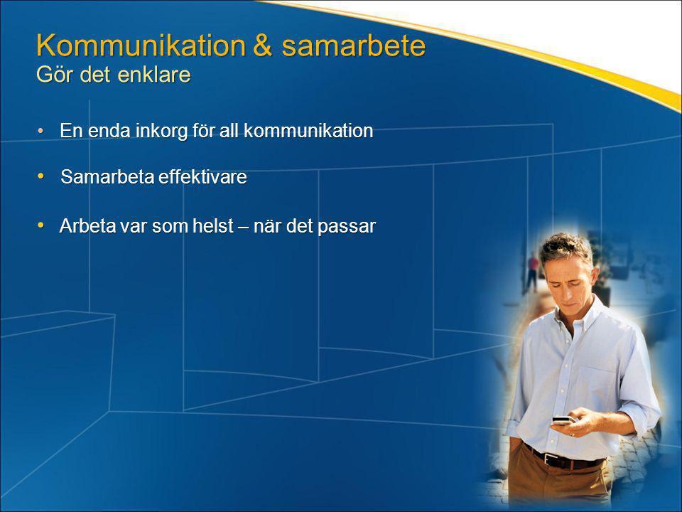 Kommunikation & samarbete Gör det enklare • En enda inkorg för all kommunikation • Samarbeta effektivare • Arbeta var som helst – när det passar
