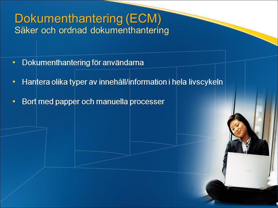 Dokumenthantering (ECM) Säker och ordnad dokumenthantering • Dokumenthantering för användarna • Hantera olika typer av innehåll/information i hela liv