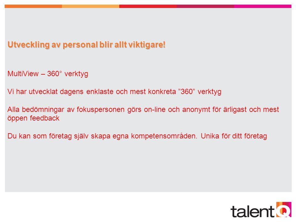 TalentQ anpassar sig till vad kunden vill ha TalentQ anpassar sig till vad kunden vill ha Avtalskunder 100 % tillgång att använda våra produkter i egen regi Byråtjänst TalentQ tar hand om all administration kring produkterna Konsulttjänster Second Opinion