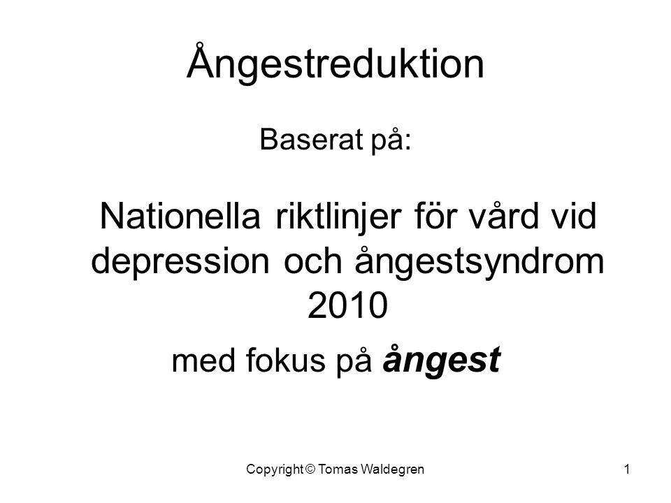 Ångestreduktion Baserat på: Nationella riktlinjer för vård vid depression och ångestsyndrom 2010 med fokus på ångest 1Copyright © Tomas Waldegren